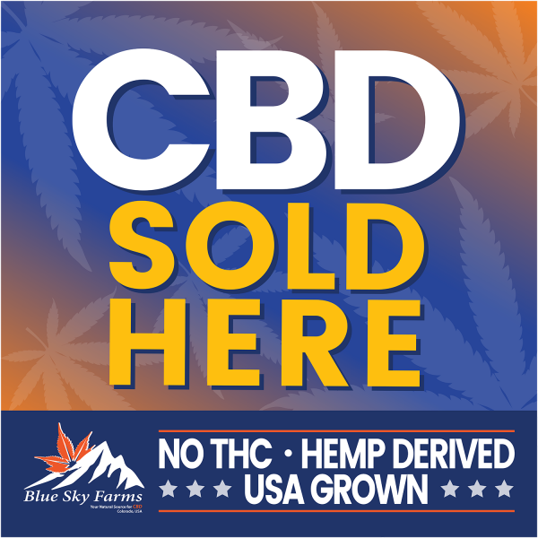 12x 12 - CBD Sold Here Retailers - Double sided Window Cling